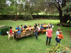 Eight families gathered for Thanksgiving at a home in Kijabe. The boys loved playing in all the GRASS!