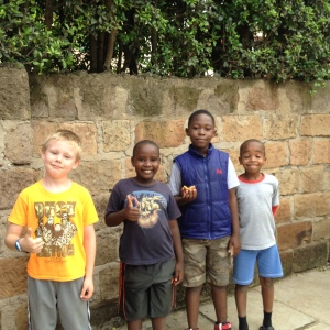 Matthew, Maxwell, Chris, and Ndungu - best buddies!